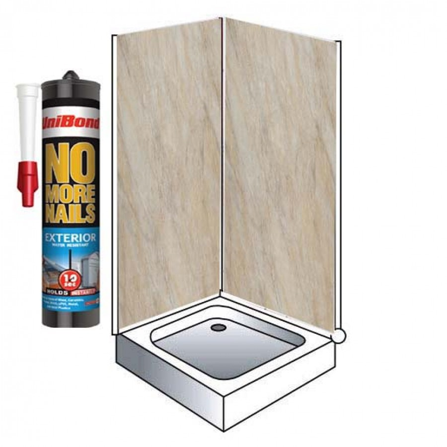 Shower Wall Panel Kit to cover 2 x 1000 walls 5mm pergamon marble 32 ...
